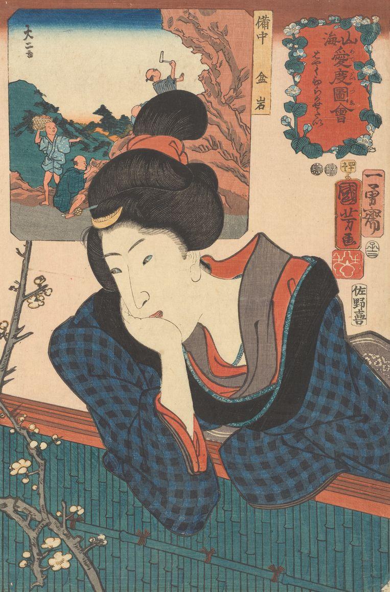 Sanoya Kihei Utagawa Kuniyoshi (1797 - 1861) Utagawa Yoshijo (1842 - 1885) Verlangen naar het zien van de eerste bloesem, 1852  Beeld Van Gogh Museum
