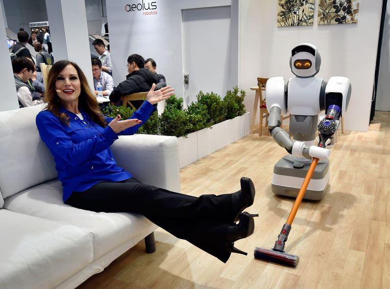 Een demonstratie van de Aeolus Robot op de CES-techbeurs in Las Vegas. Beeld Getty Images