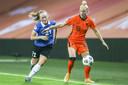 Danique Kerkdijk in actie tijdens de EK-kwalificatiewedstrijd tegen Estland vorig jaar oktober.