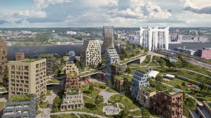 Artist impression van de plannen voor de spoorzone in Dordrecht.