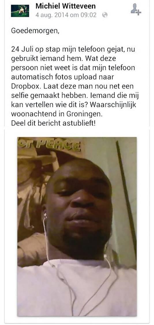 De Groningse Michiel Witteveen plaatste een foto online, gemaakt met zijn gestolen telefoon.