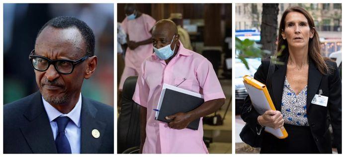 A gauche : le président rwandais Paul Kagame. Centre : Paul Rusesabagina, héros du film Hôtel Rwanda, condamné lundi à 25 ans de prison pour terrorisme. À droite : La ministre des Affaires étrangères Sophie Wilmès a critiqué la décision du tribunal rwandais.