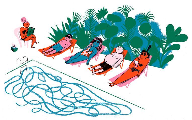 Een gorgeous middag aan het zwembad: vaste prik op retraite bij John en zijn vrouw Gaia. Beeld Charlotte Dumortier
