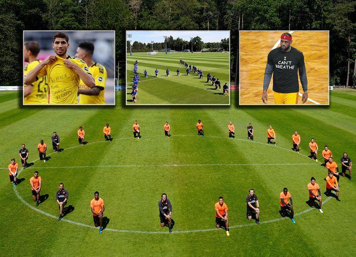 PSV poseert als protest. Inzetjes, vlnr: Achraf Hakimi, Chelsea en LeBron James.