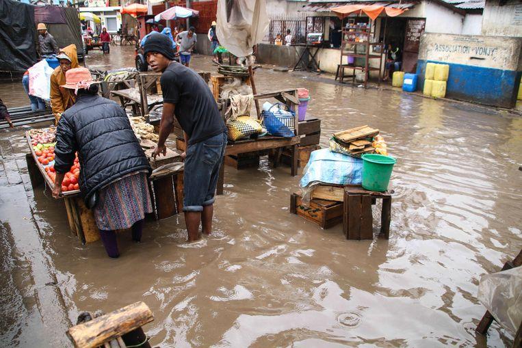 Zeker 21 mensen kwamen om het leven door de hevige regenbuien op Madagaskar.