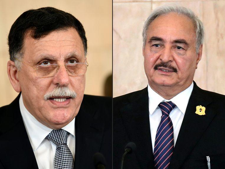 De Libische premier Fayez al-Sarraj en de Libische generaal Khalifa Haftar worden vandaag in Moskou verwacht om een akkoord over een staakt-het-vuren te ondertekenen.  Beeld AFP