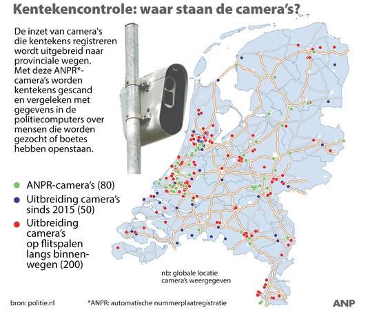 2017-11-13 13:14:34 Kentekencontrole: waar staan de camera's? Politie gaat ook op binnenwegen kentekens controleren met ANPR-camera's. ANP INFOGRAPHICS