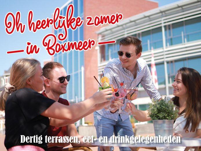 De poster waarmee de Boxmeerse horeca mensen wil lokken.