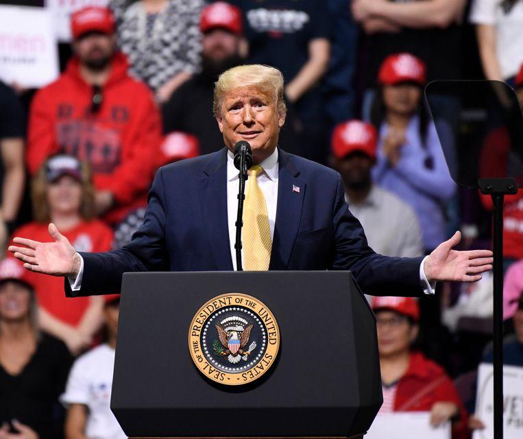 Trump tijdens zijn speech in Colorado Springs, in Colorado. Beeld EPA
