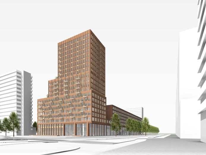 De nieuwe woontoren aan het Delflandplein wordt in 2023 opgeleverd.