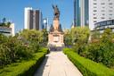 Het beeld van Christoffel Columbus aan de Paseo de la Reforma in Mexico-Stad.