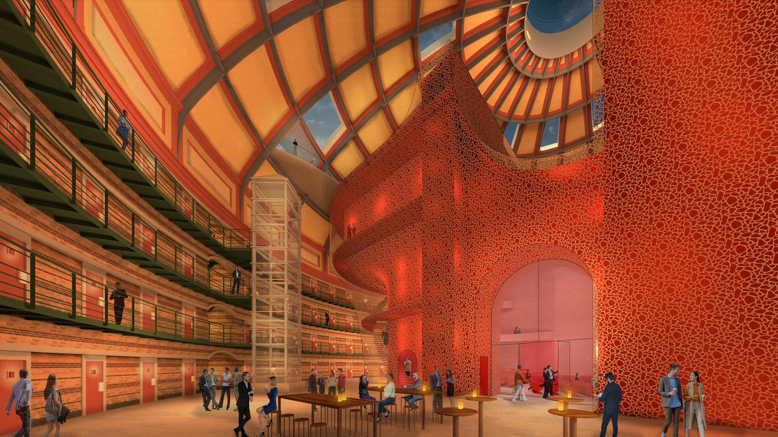 Impressie van hoe het Stadstheater in de Koepelgevangenis eruit kan zien. Het plan is ontwikkeld in opdracht van eigenaar Bas Tolmeijer.