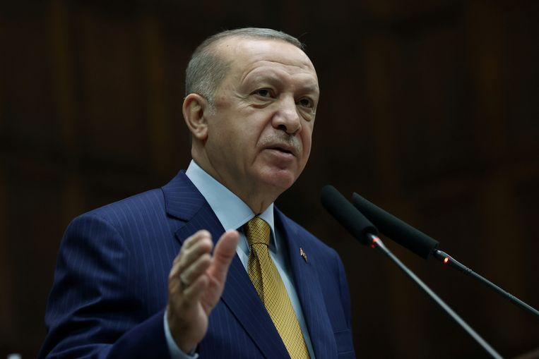 De Turkse president Recep Tayyip Erdogan. Beeld via REUTERS