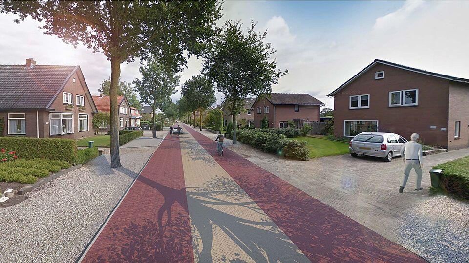 Een impressie van hoe de Garderenseweg in Speuld er straks uit komt te zien.