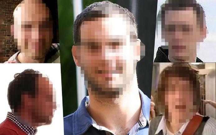 De vijf verdachten Dimitry D. (linksboven) Michael T. (linksonder), Niels M. (midden), Samuel K. uit Engeland (rechtsboven) en Lars de R. uit Krommenie (rechtsonder). Allen zijn al eerder opgepakt of veroordeeld.