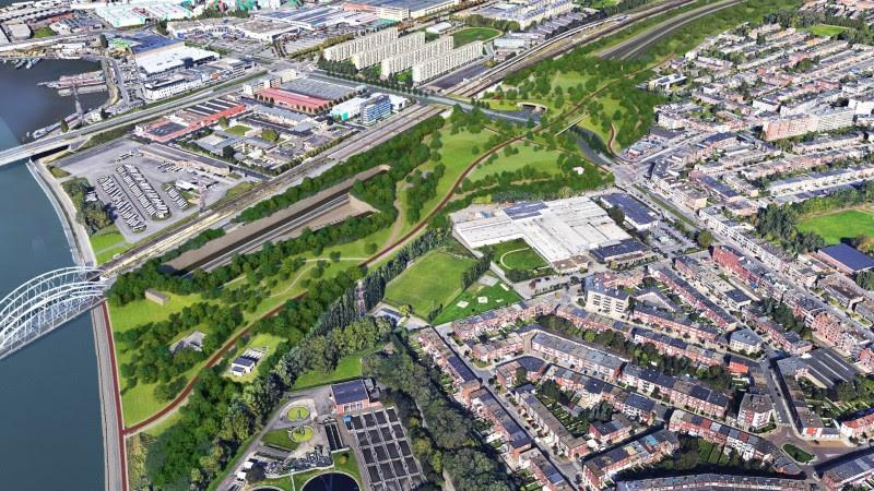 Een impressie van de toekomstige nieuwe Ring. Linksboven herken je de wijk Luchtbal, rechts ligt Merksem.