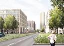 Stedenbouwkundig toekomstbeeld van de Spoorzone vanaf de Besterdring met centraal de Clarissentoren.