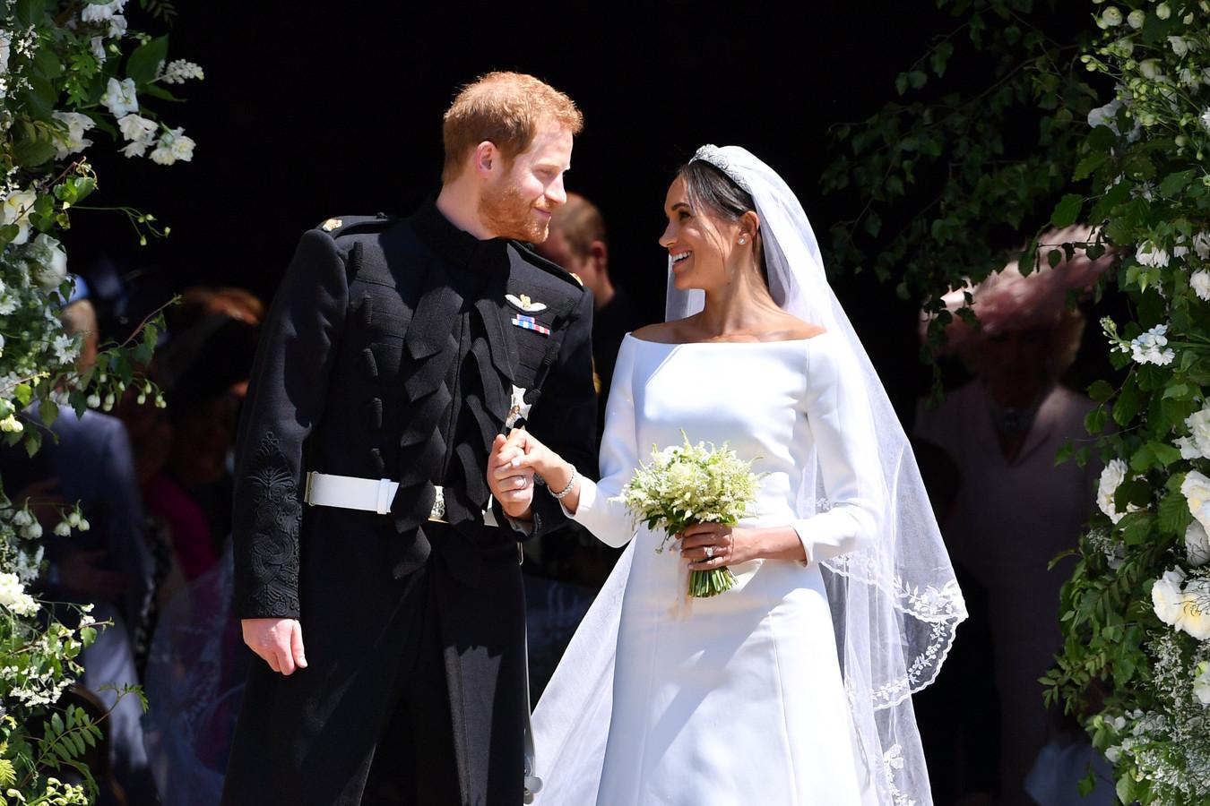 Le prince Harry et Meghan Markle lors de leur mariage en 2018