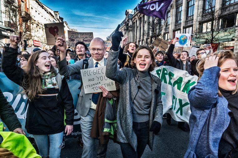 2019: Anuna De Wever krijgt de klimaatspijbelaars op straat. Beeld Tim Dirven