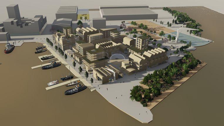 De 'maakstad' komt in het stukje werf rondom restaurant Pllek, maar dan wel mét Pllek. Beeld Architect Abels & Partners