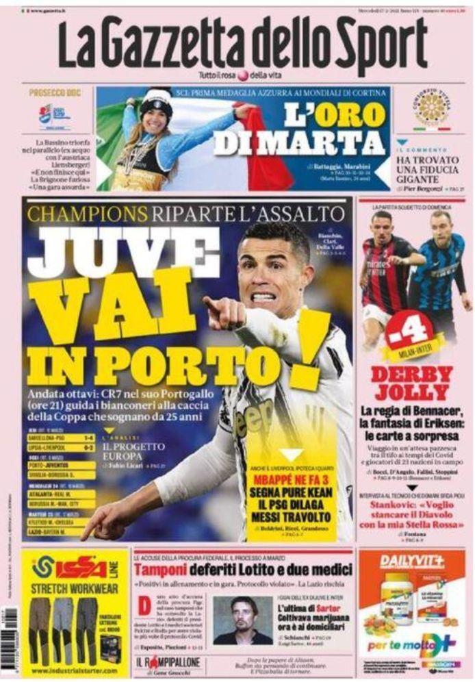 De voorpagina van La Gazzetta dello Sport. De meeste aandacht gaat naar FC Porto-Juventus van vanavond.