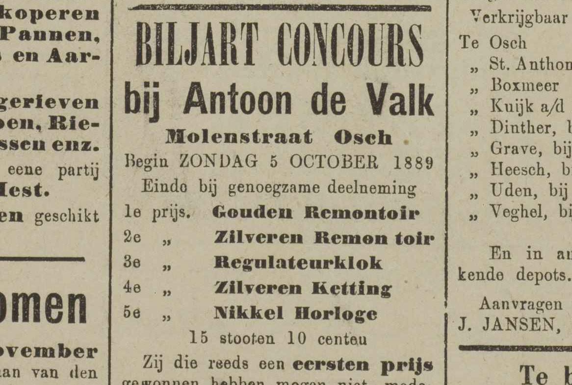 Advertentie voor een biljartwedstrijd in Oss in 1889. De eerste prijs was een gouden zakhorloge