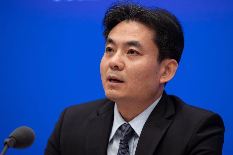 """Yang Guang op een persconferentie in Peking. Peking veroordeelt de """"vreselijke incidenten"""" in Hongkong."""