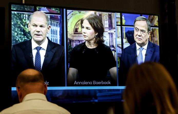 Olaf Scholz, Annalena Baerbock en Armin Laschet tijdens het debat.