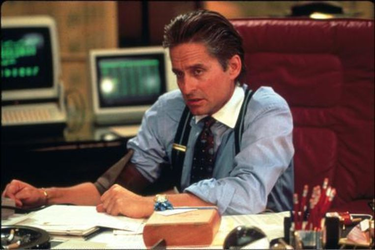 Michael Douglas in 'Wall Street' van Oliver Stone uit 1987. Beeld UNKNOWN