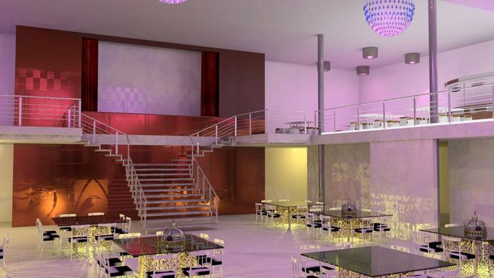 Impressie van de grote feestzaal, met inpandig balkon en de grote trap.