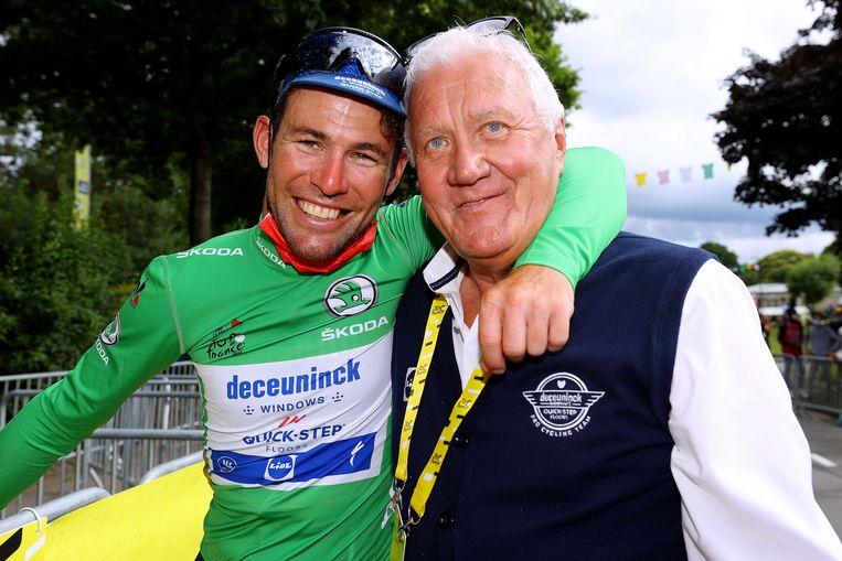 Mark Cavendish en Patrick Lefevere. Beeld Getty Images