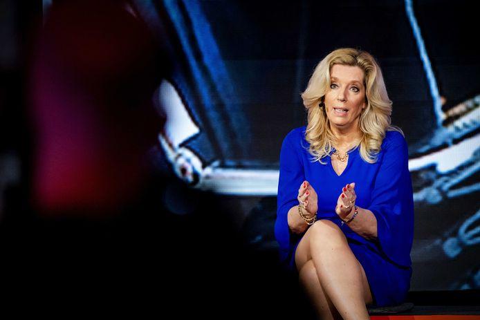 50Plus-lijsttrekker Liane den Haan gisteren tijdens het verkiezingsdebat van de NOS.