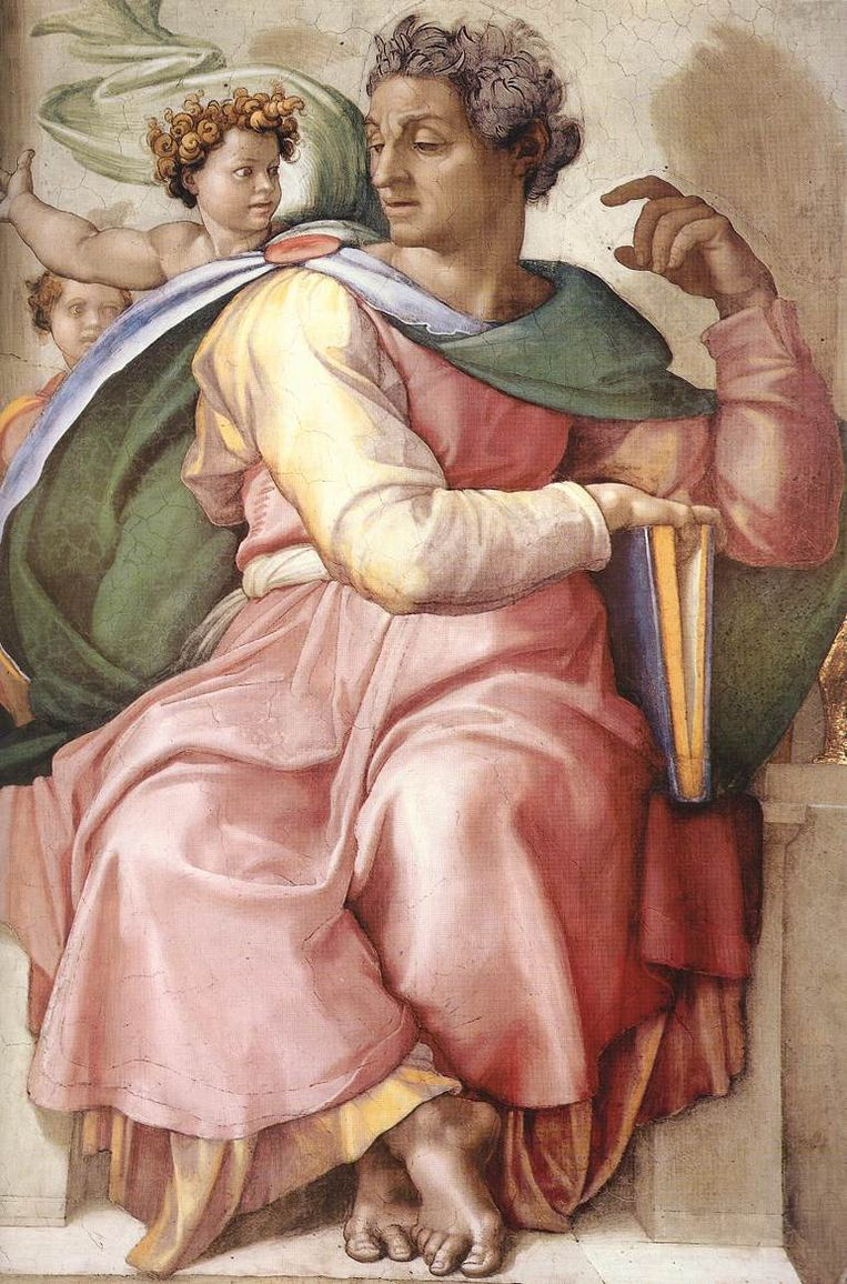 Isaiah (Jesaja) fresco in de Sixtijnse Kapel.  Beeld
