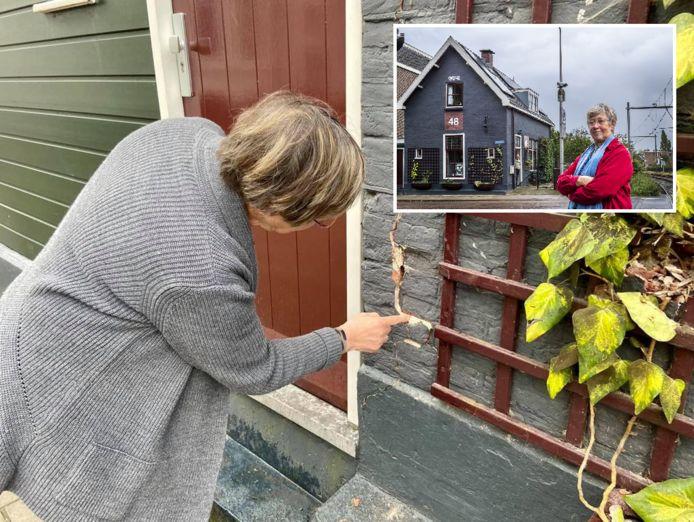 Aline Barnhoorn (65) bekijkt een scheur in haar woning. Inzet: Aline voor haar huis.
