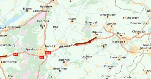 Ongeval op de A1 bij Bathmen: vertraging tussen Hengelo en Apeldoorn loopt snel op.