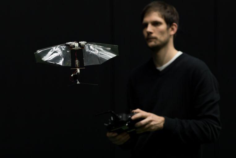 Guido de Croon met de robotfruitvlieg. Beeld Henri Werij