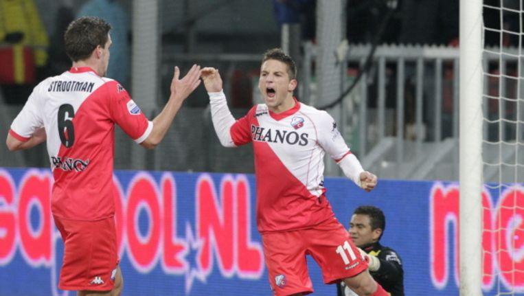 Kevin Strootman (links) en Dries Mertens: van Galgenwaard naar Philips-stadion. © PRO SHOTS Beeld