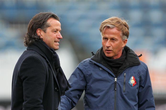 Ernest Faber, gelegenheidstrainer van Jong PSV en trainer Andries Jonker van Telstar.