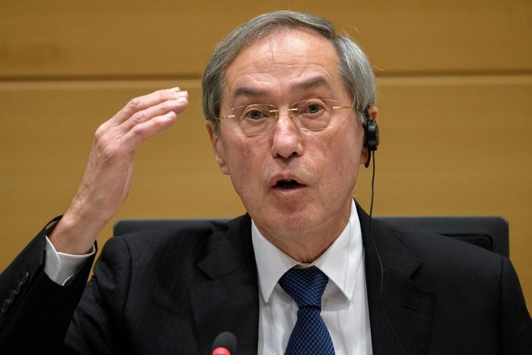 De Franse oud-minister Claude Guéant kwam getuigen in de commissie-Kazakhgate.<br /> Beeld Photo News