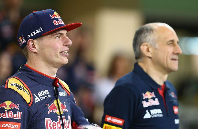 Max Verstappen en zijn eerste teambaas Franz Tost bij Toro Rosso.