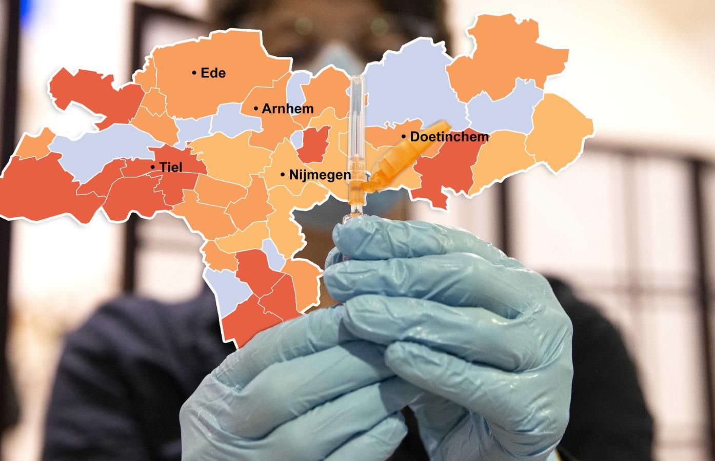 Coronakaart De Gelderlander, 12 februari 2021. Aantal besmettingen per 100 duizend inwoners.