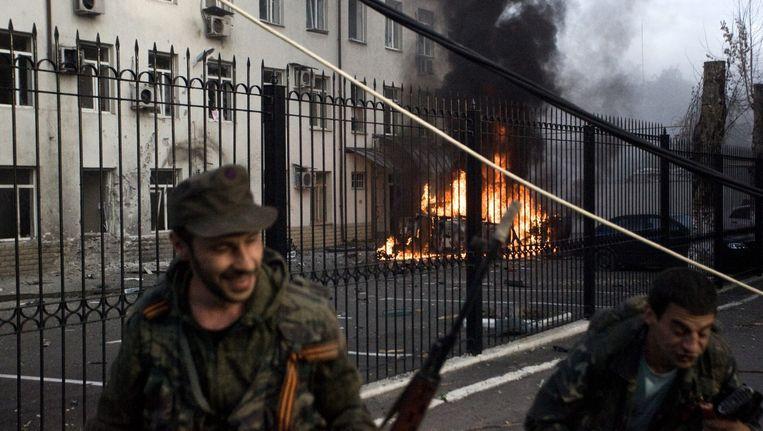 Pro-Russische separatisten in Donetsk. Beeld epa