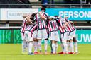 De groepshug van de Willem II-spelers bij de uitwedstrijd in Nijmegen.