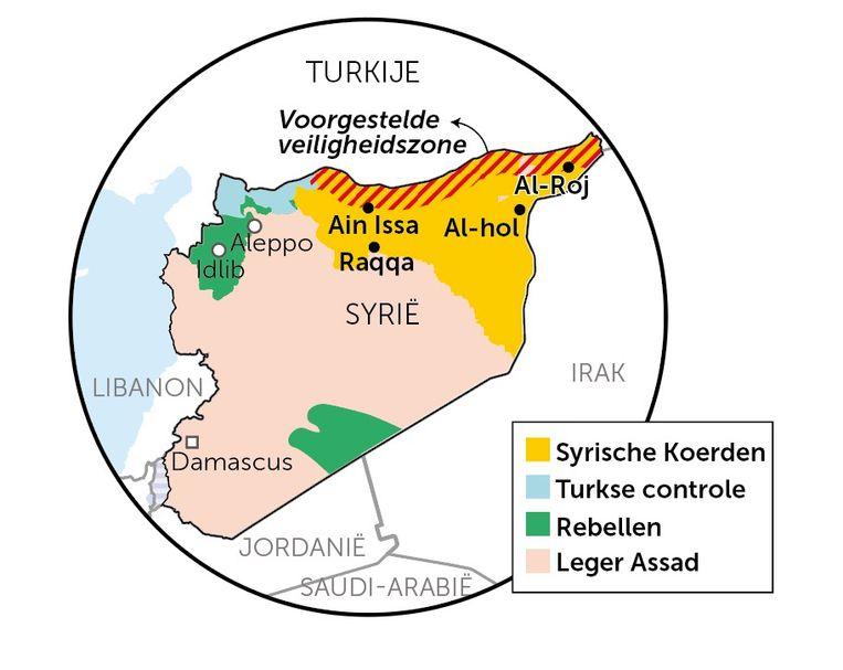 Kaart van de Turkse 'veiligheidszone' in Syrië Beeld RV