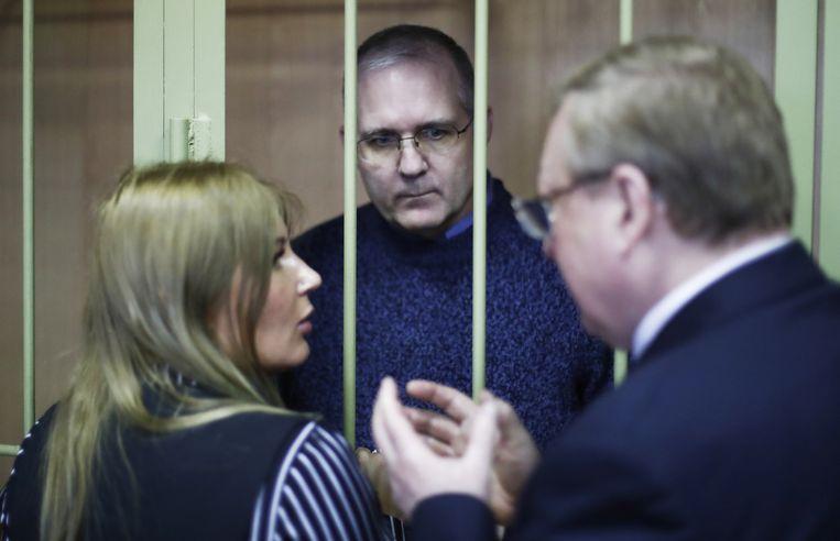 Paul Whelan tijdens de zitting in de rechtbank van district Lefortovo in Moskou.