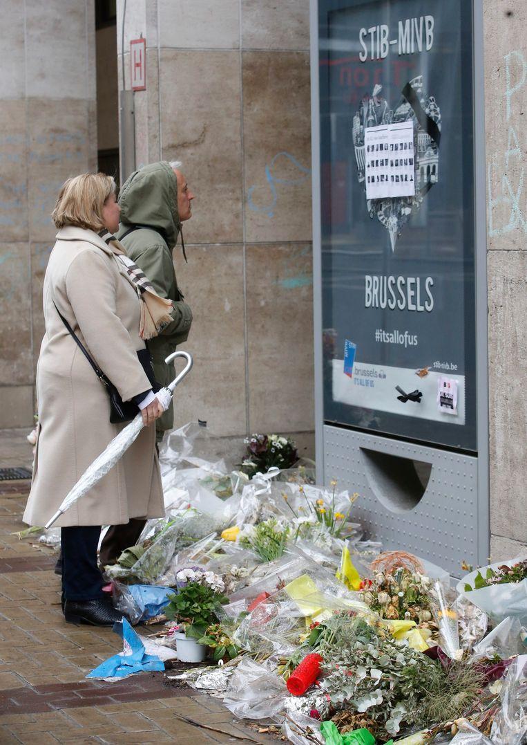 Metrostation Maalbeek, na de aanslagen. Beeld EPA