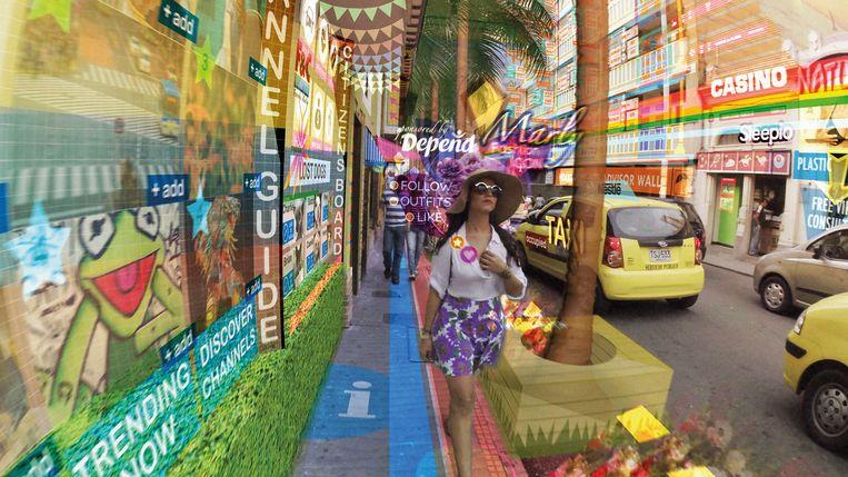 Hyper-Reality schetst een toekomst bekeken door een vr-bril. Beeld Keiichi Matsuda