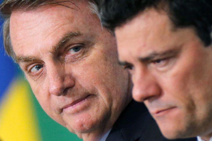Bolsonaro (links) met oud-minister van Justitie Sergio Moro.