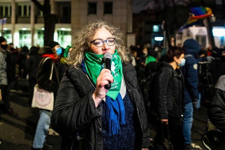 Activiste Marta Lempart, een van de organisatoren van de protesten tegen de abortuswet. Ze is nu aangeklaagd en hangt acht jaar cel boven het hoofd. Beeld AFP