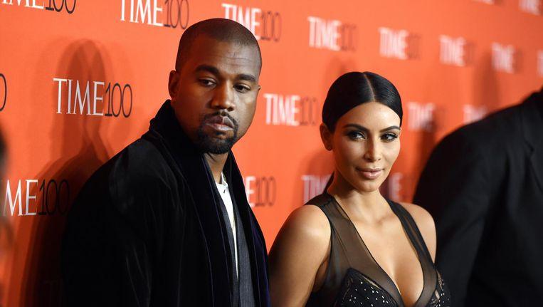 Kanye West en Kim Kardashian. Beeld afp